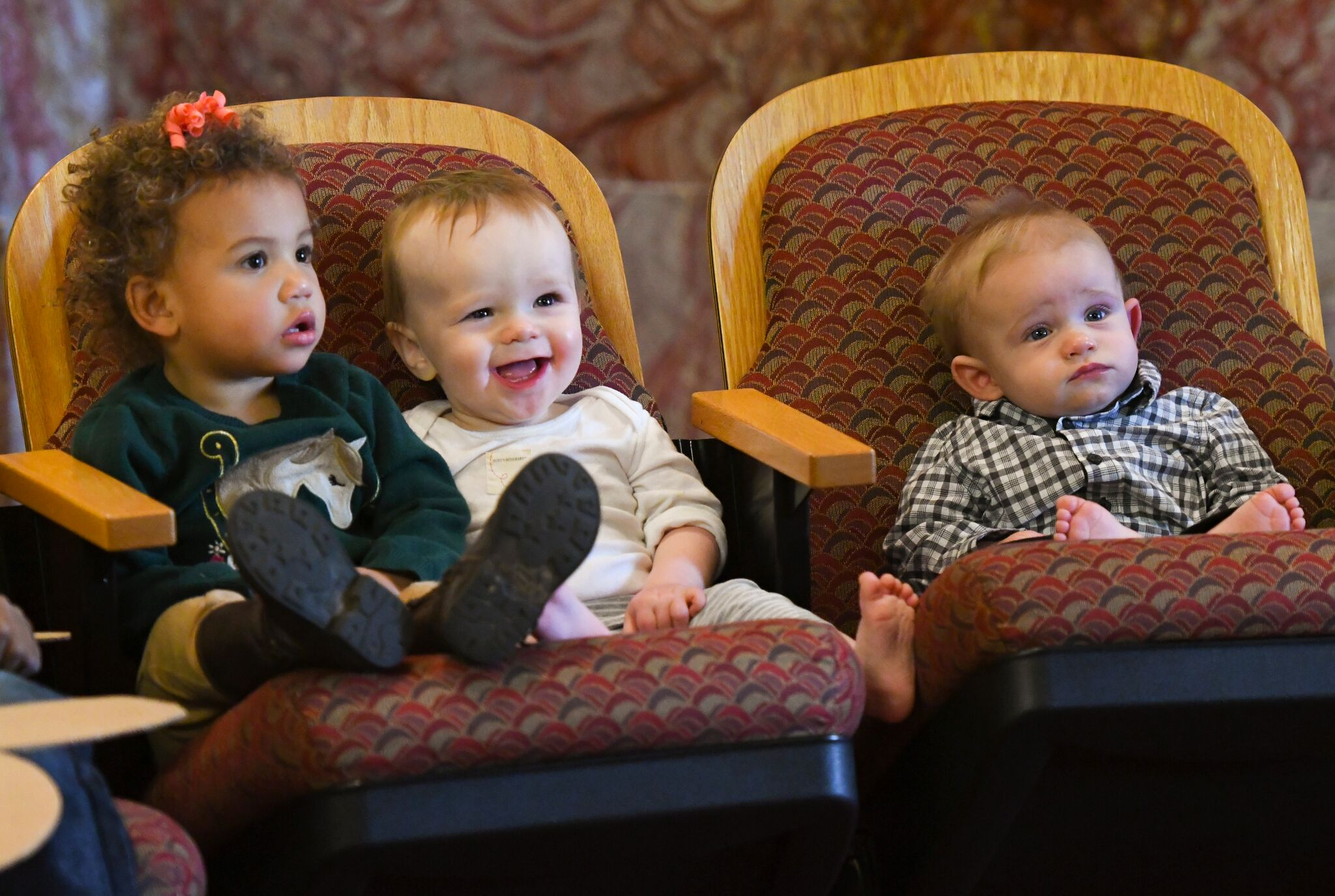 Three babies sitting in a chair in the senate chamber