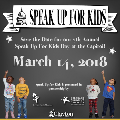 Save the Date 2018 Speak Up for Kids