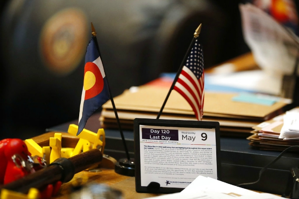The calendar on a desk of a Colorado state senator marks the final day of the session Wednesday, May 9, 2018