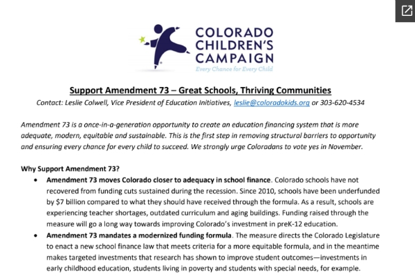 Colorado Children's Campaign Supports Amendment 73