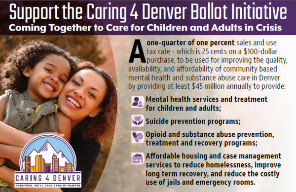 A graphic listing benefits of the Caring 4 Denver initiative to support mental health and substance use disorder treatment