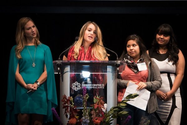 Teen advocates from Yuma's LAS ESTRELLAS program, Anney Orona, Karina Valenzuela, and Cassandra Arreola, share their personal stories of advocacy as they introduce our 2017 Annual Luncheon speaker Sonia Manzano (Maria from Sesame Street), along with event emcee Pamela Padilla, a Telemundo Denver news anchor.