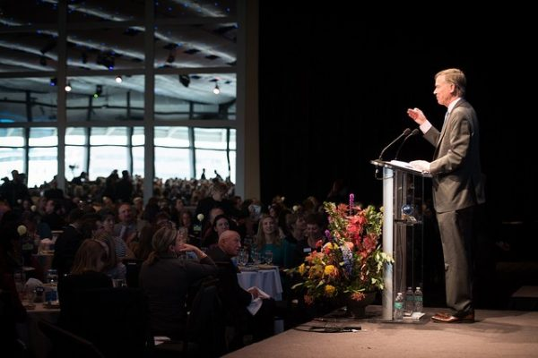 Gov. John Hickenlooper addresses the audience during the 2017 Annual Luncheon