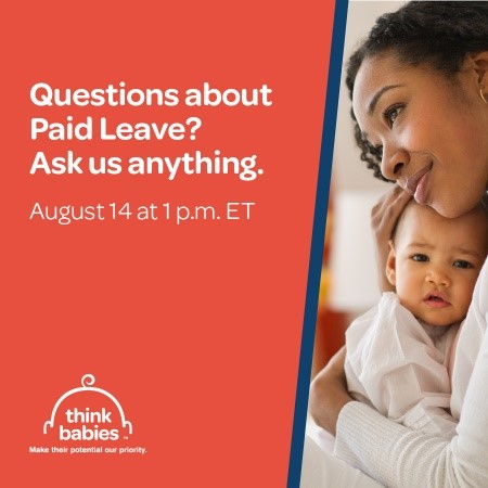 promotion for paid leave event on facebook August 14 at 1 p.m. eastern