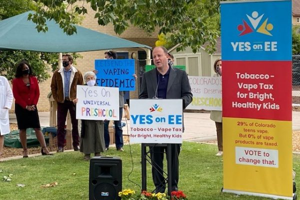 The governor of Colorado speaks at YES on EE launch event