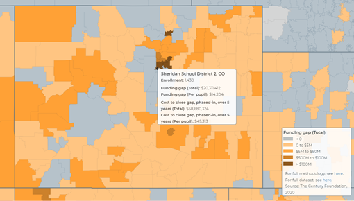Snapshot of funding gaps between Colorado districts. Source: The Century Foundation.