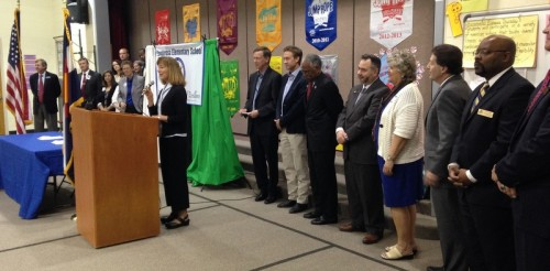Rep. Millie Hamner speaks at the signing ceremony for HB 1292 and HB 1298. Photo by Colorado House Democrats.