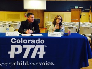 Leslie Colwell, Vice President for K-12 Education Initiatives, speaks at the Colorado Parent Teacher Association Annual Legislative Conference this week. Photo by Sen. Andy Kerr.